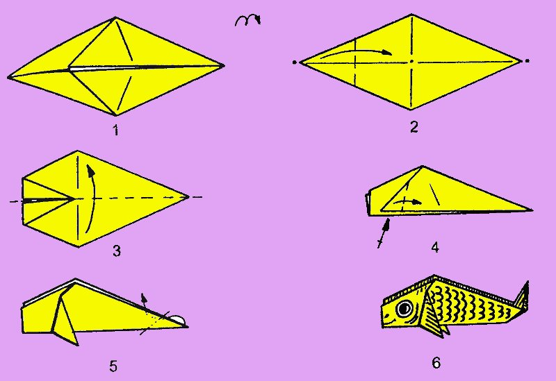 easy origami fish carp paper origami style 1937