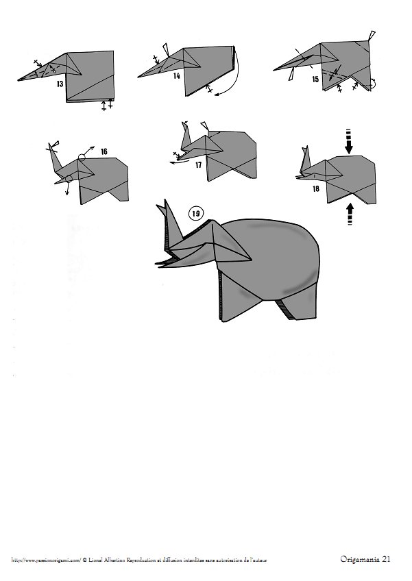 Origami Elephant Diagram P1 P2