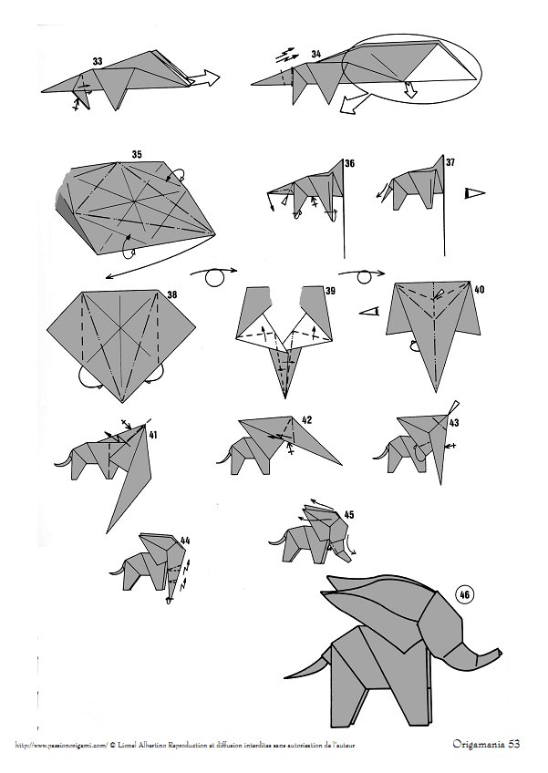 Elephant Origami Diagram P3 Cow