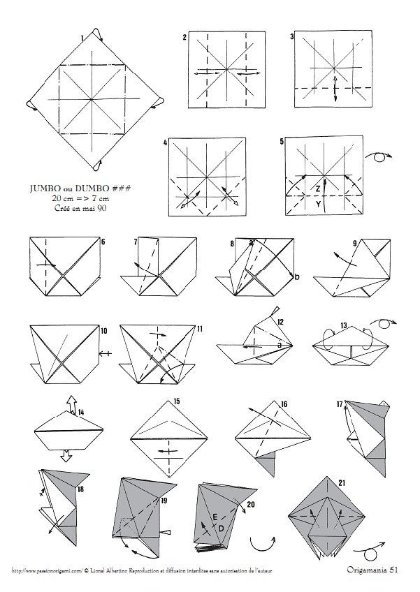 Elephant Origami Diagram P1