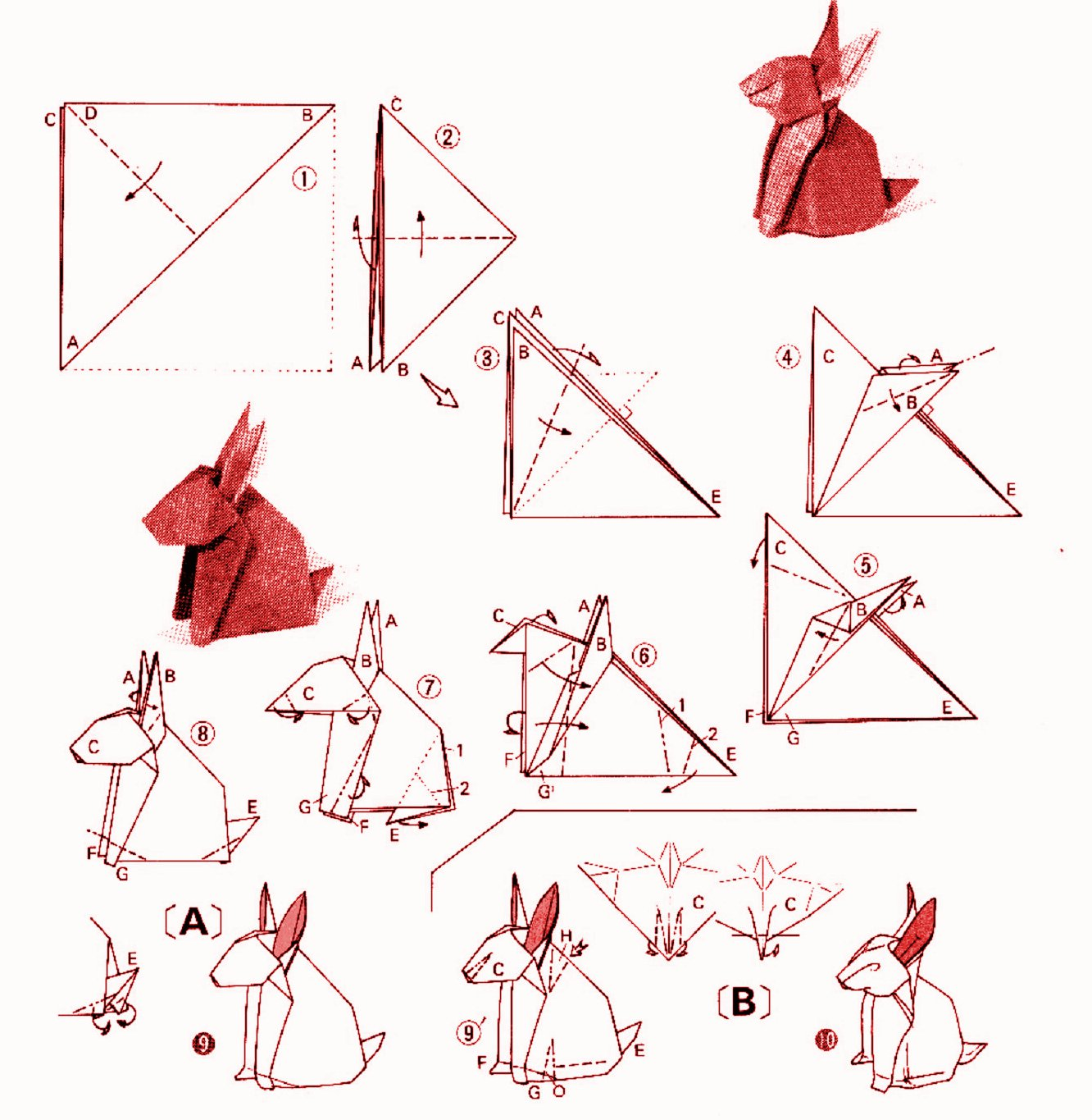 Rabbit Origami Diagram 1