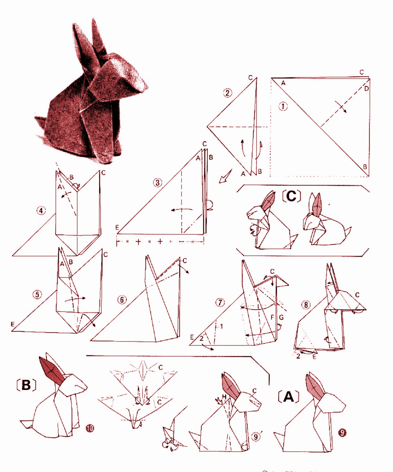 Rabbit Origami Diagram 1 2