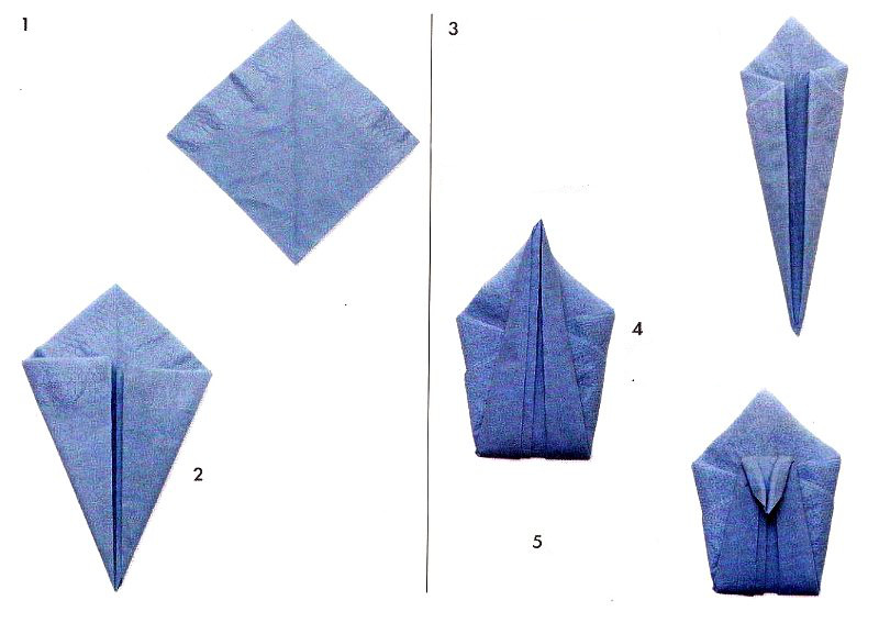 Swan from napkins scheme for Origami swan folding instructions