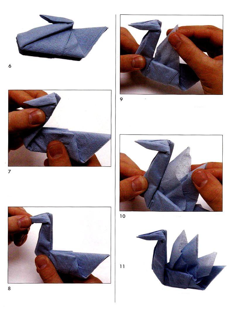 Лебедь из бумажных салфеток