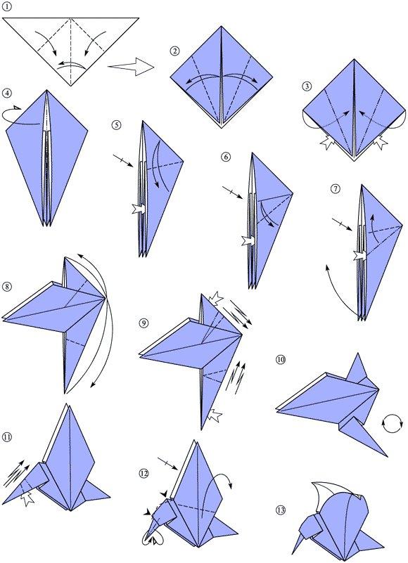 Schema Of Origami Bird