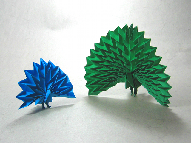 How To Make 3D Origami Peacock - crazzy crafting | 480x640