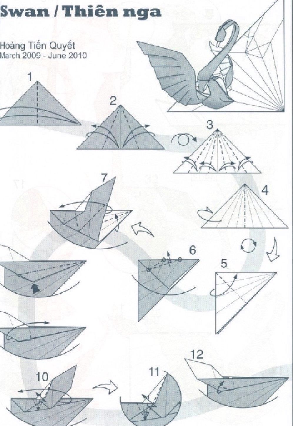 Как сделать из бумаги способом оригами лебедь