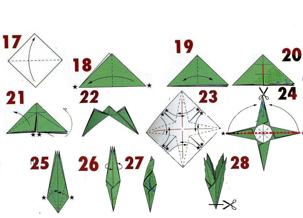 Rose Leaf Origami Free Diagram Download | 722x1000